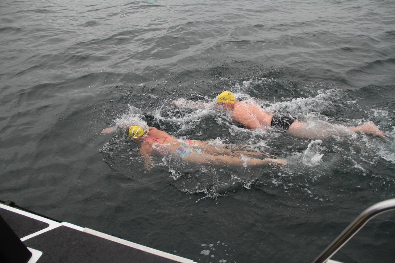 Relay team handover in the North Channel
