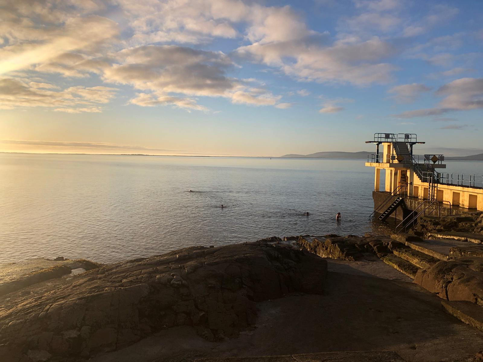 Blackrock diving tower looking into Galway Bay. Photo by Eoin Mooney