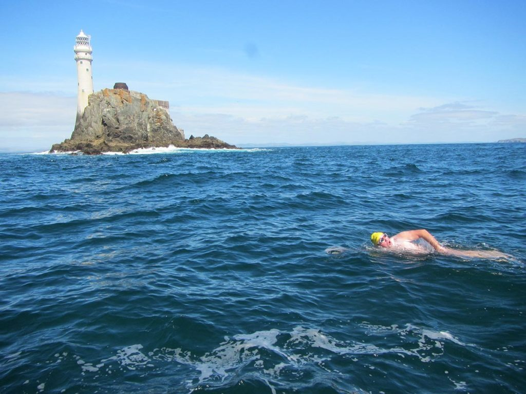 Oceans 7 swimmer Steve Redmond approaching the Fastnet Rock